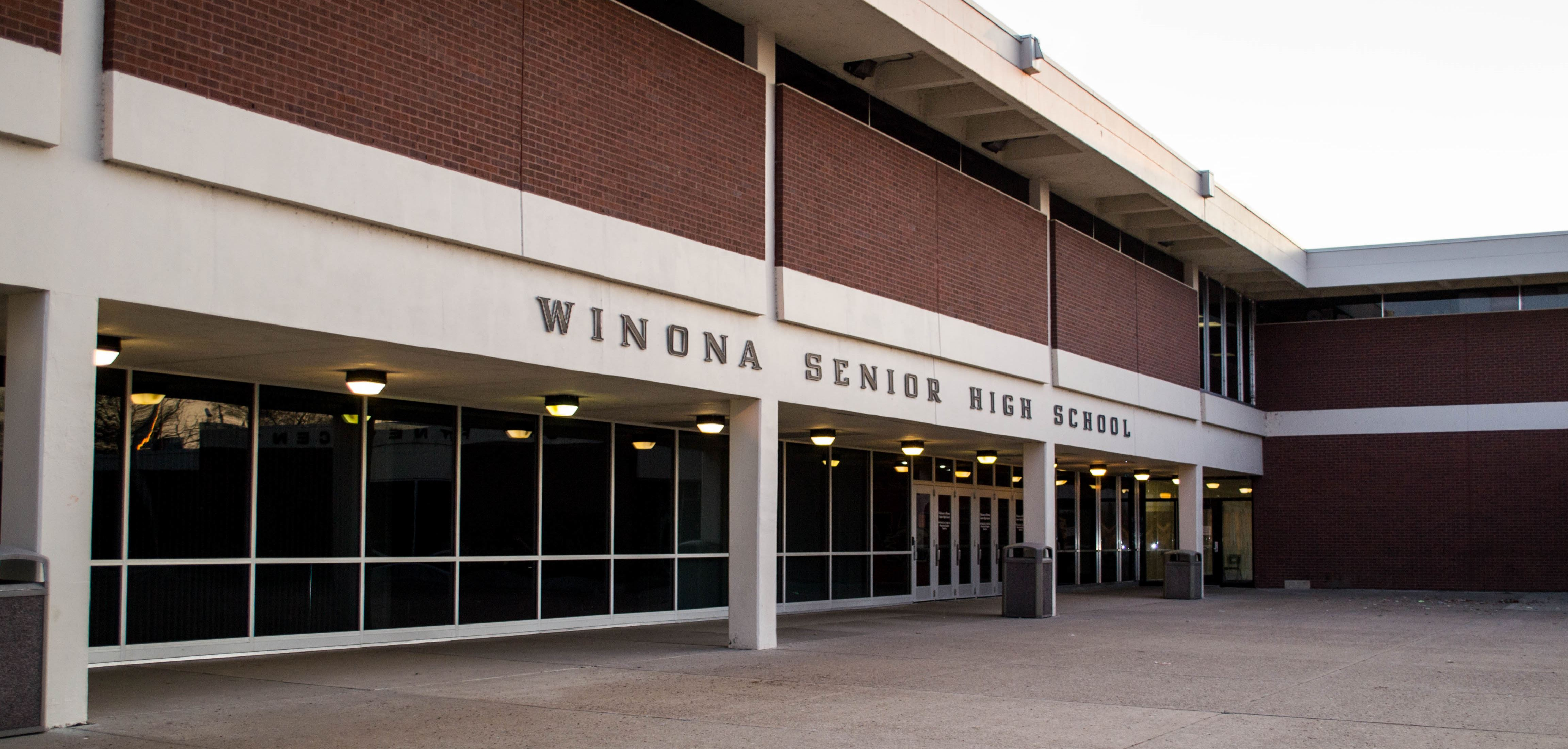 Winona Senior High School building front.