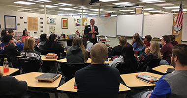 Representative Walz visits Winona Senior High School